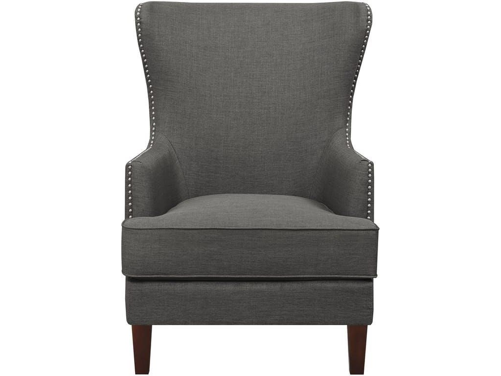 Elements International Accent ChairsCody Charcoal Wing Chair