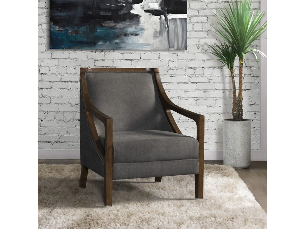 Elements International Accent ChairsHopkins Charcoal Accent Chair with Dark Wood