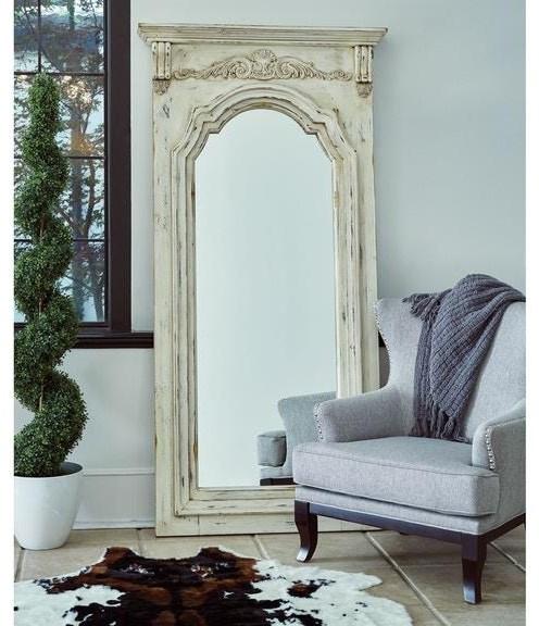 Elements International Accents Marc700mr Antique White Floor Mirror Sam Levitz Furniture Floor Mirrors