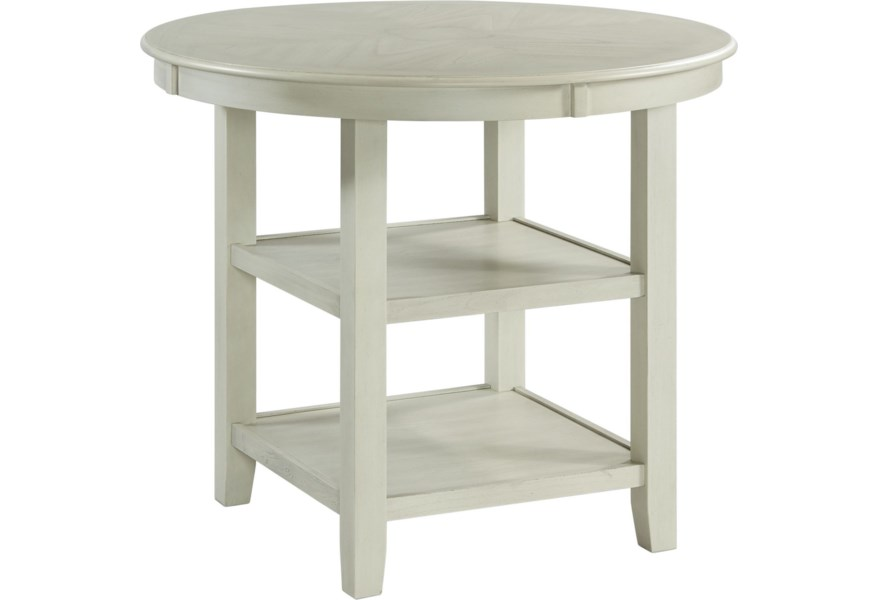 Elements International Amherst Round Counter Height Dining Table With Shelving Story Lee Furniture Pub Tables