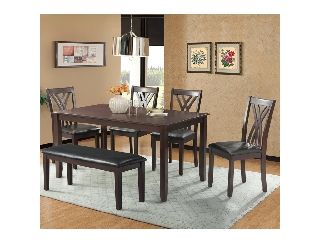 Elements International BannisterTable Set with Bench