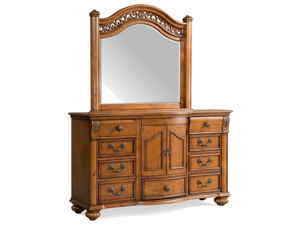 Elements International Barkley SquareDresser and Mirror Set