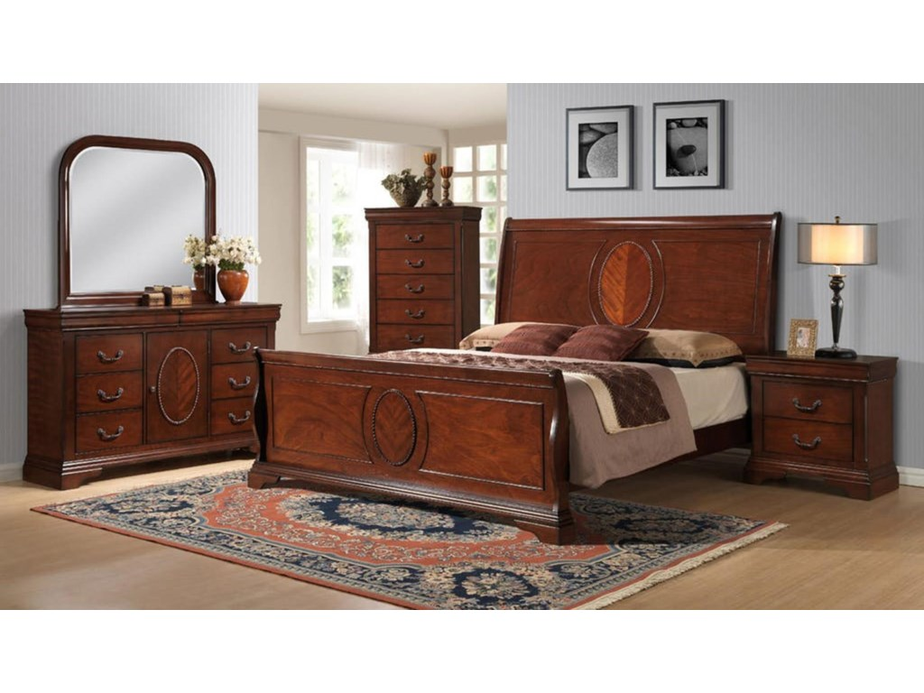 Elements International BourbonQueen Sleigh Bed