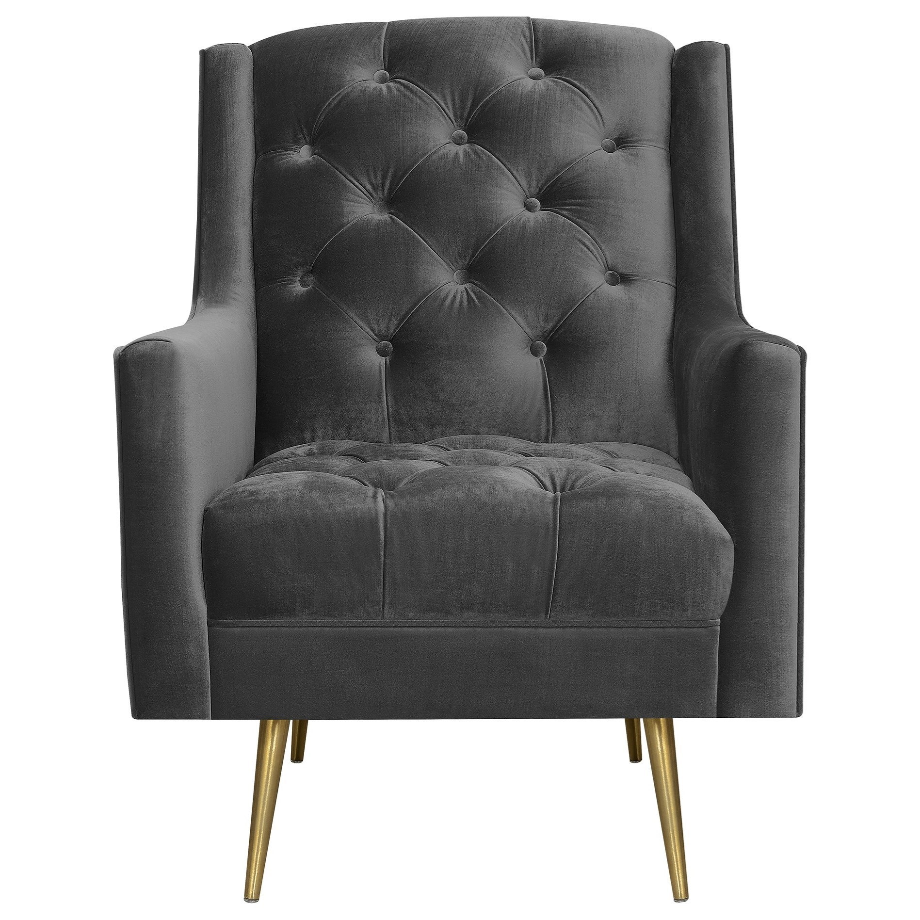 Picture of: Elements Bryan Contemporary Button Tufted Accent Chair With Gold Legs Royal Furniture Upholstered Chairs