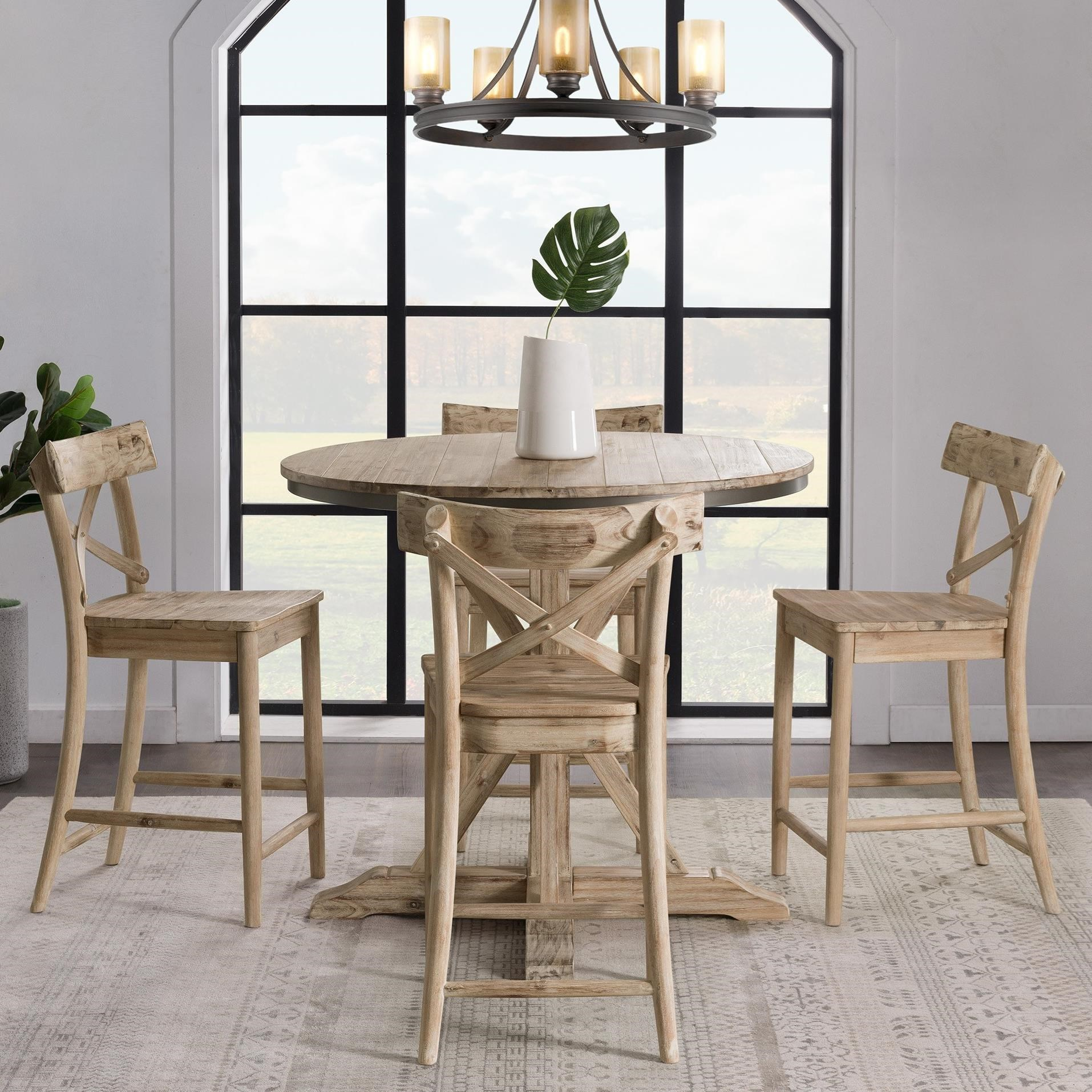 Picture of: Elements Callista Rustic Round Counter Height 5 Piece Dining Set Royal Furniture Pub Table And Stool Sets