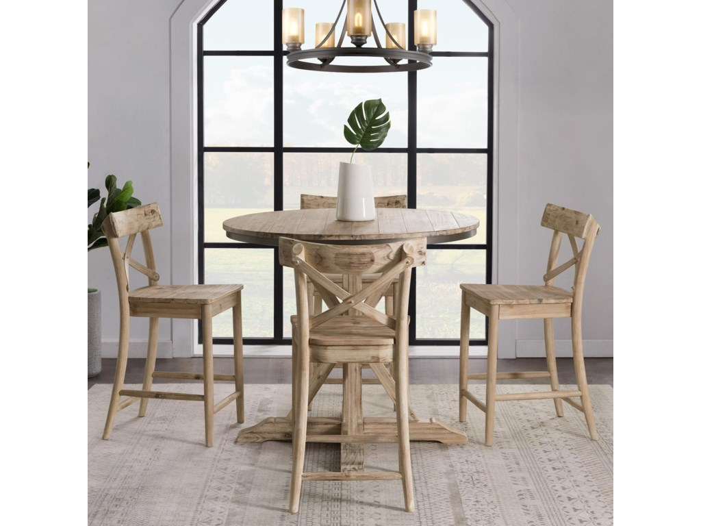 Elements Callista Rustic Round Counter Height 5 Piece Dining Set Royal Furniture Pub Table And Stool Sets