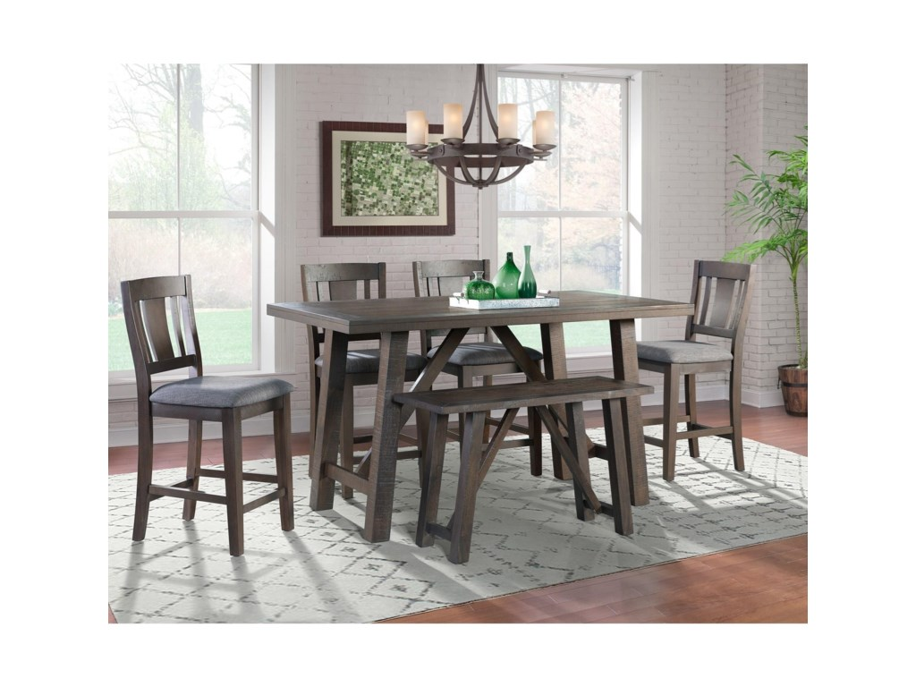 Elements Cash6-Piece Counter Height Dining Set with Bench