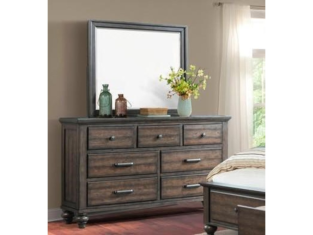 Elements International ChathamGray Dresser & Mirror