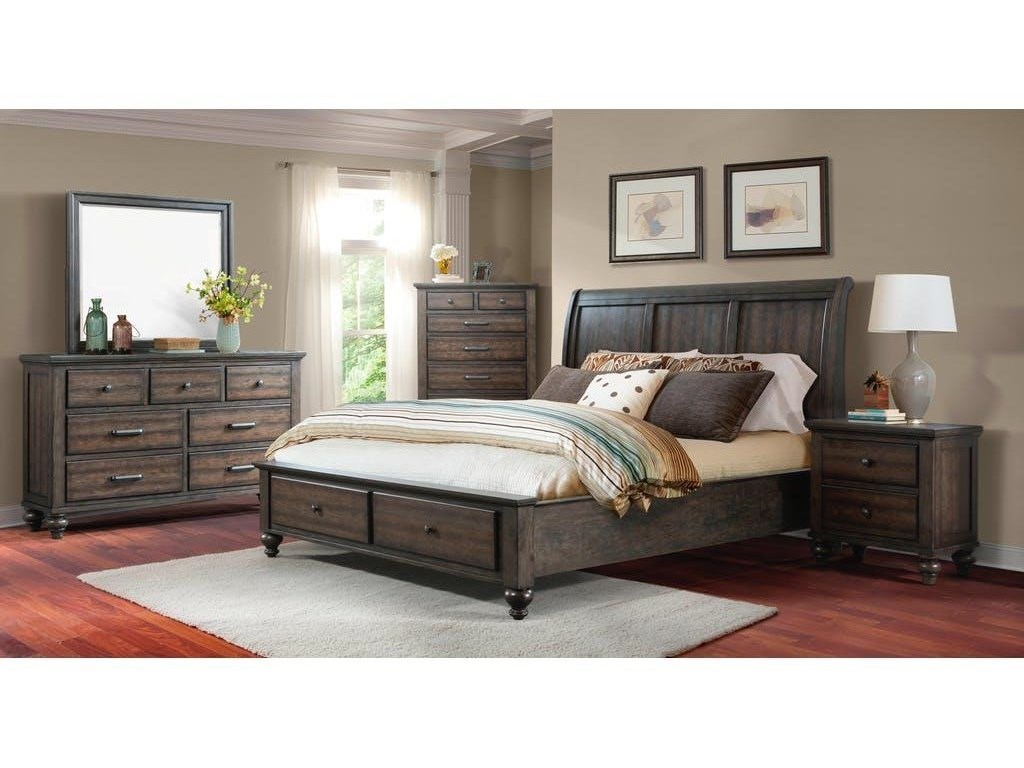 Elements International ChathamKing Gray Bed with Storage