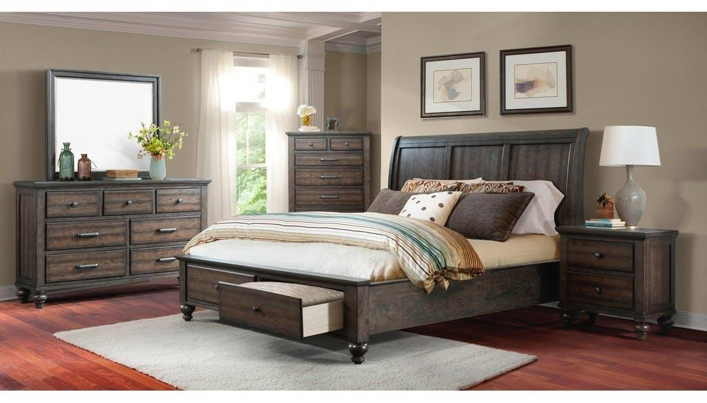 Elements International ChathamQueen Gray Bed with Storage