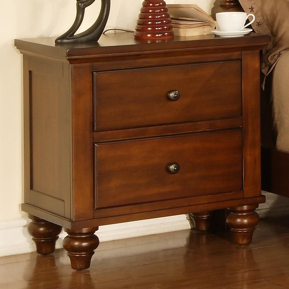 Elements International Chatham Transitional Nightstand With 2 Drawers