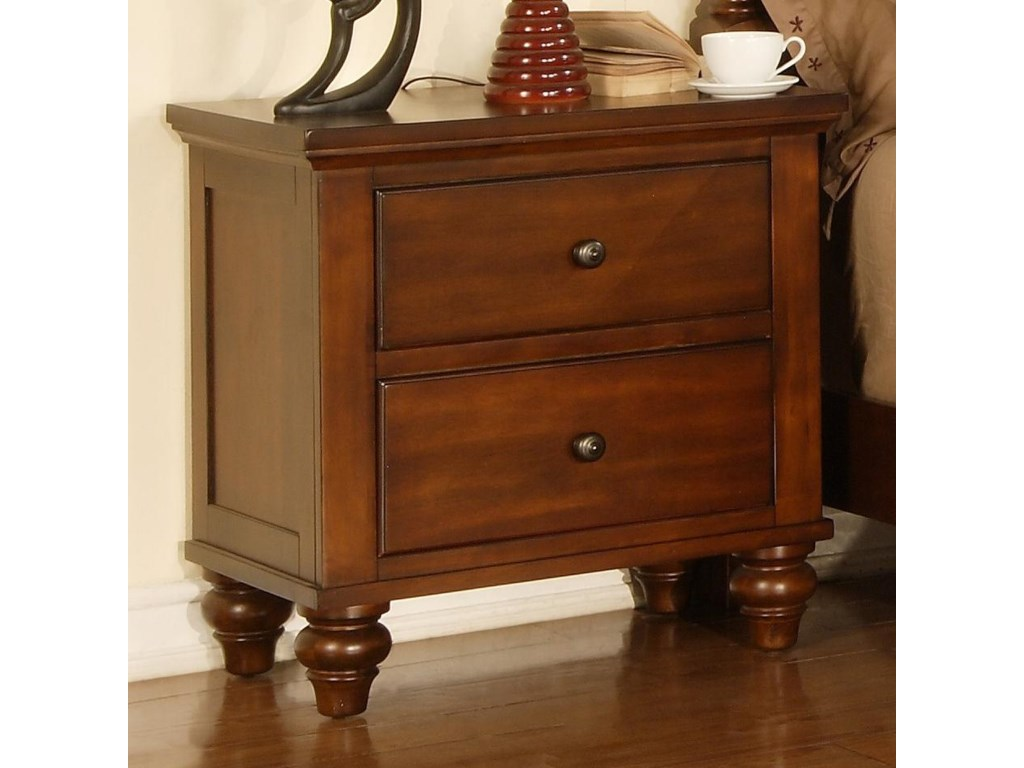 Elements Chatham Transitional Nightstand With 2 Drawers Royal Furniture Nightstands