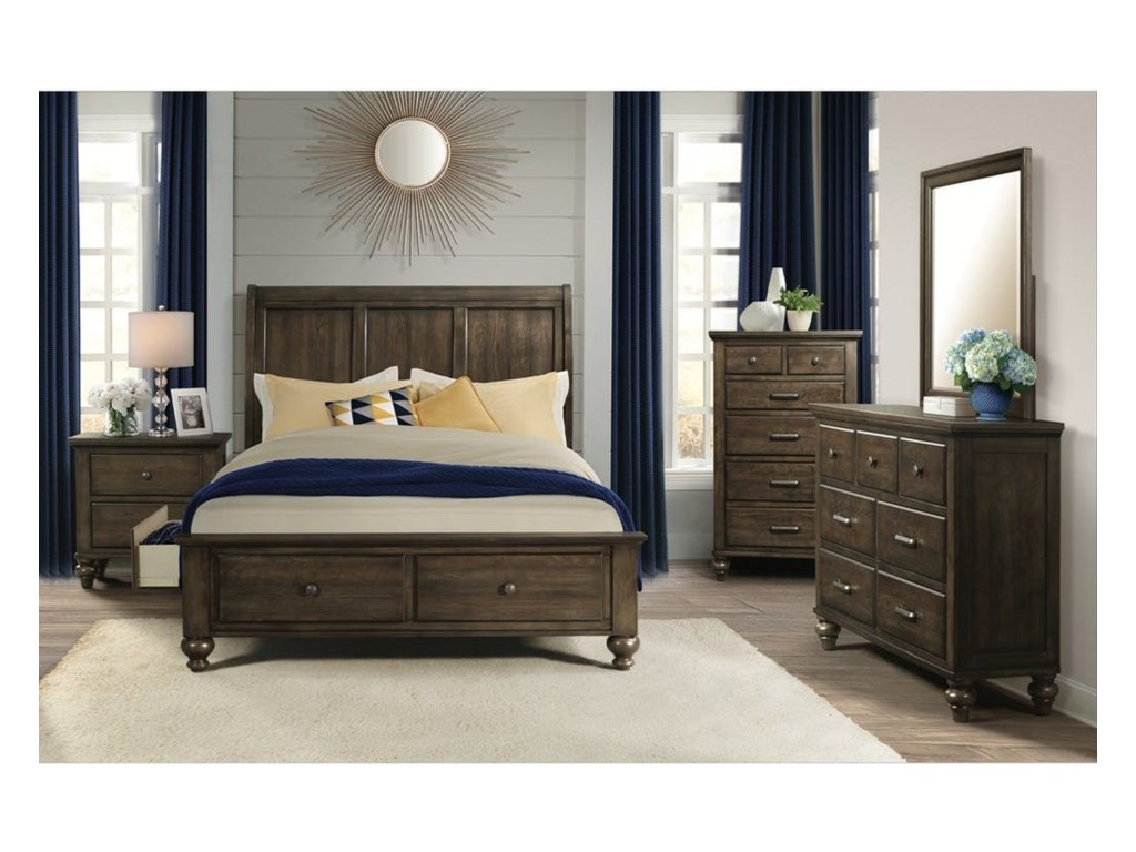 Elements International Chatham GrayKing Sleigh Bed