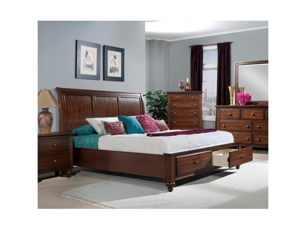 Elements International ChathamKing Sleigh Bed