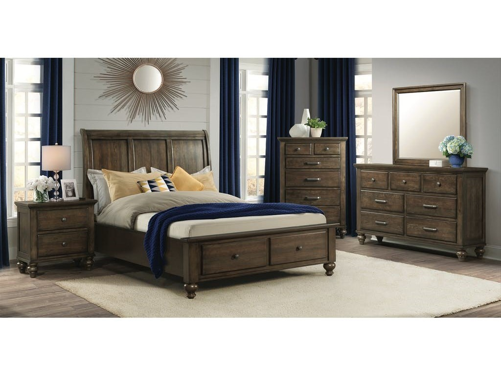 Elements International Chatham GrayKing Bedroom Group