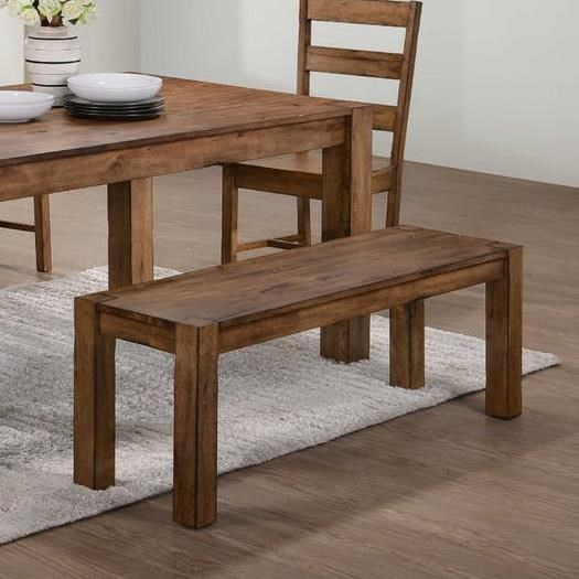 Elements International Cheyenne Rustic Bench With Block Legs | Miskelly  Furniture | Dining Benches