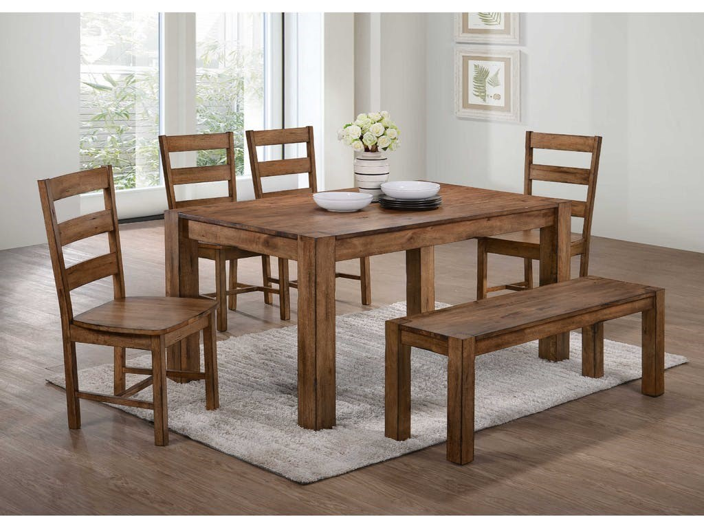 Cheyenne Rustic Dining Set With Bench By Elements International