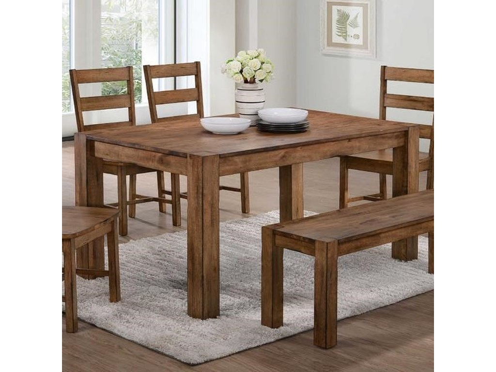 Cheyenne Rustic Dining Table With Block Legs By Elements International
