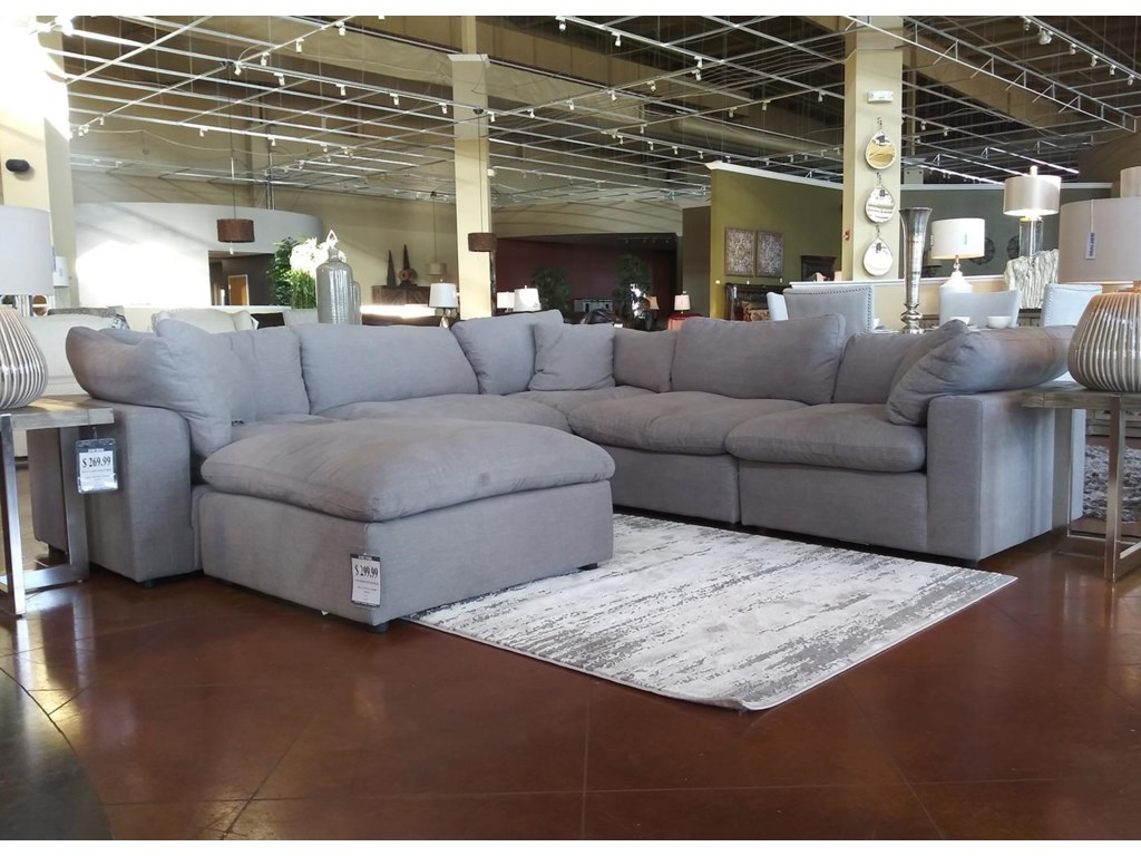 Elements International Cloud 9Grey Modular 5-Piece Sectional