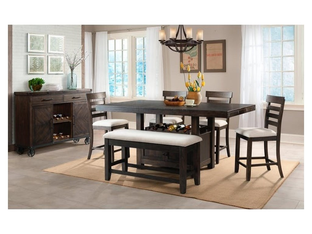 Elements International ColoradoCounter Height Dining Set with Bench