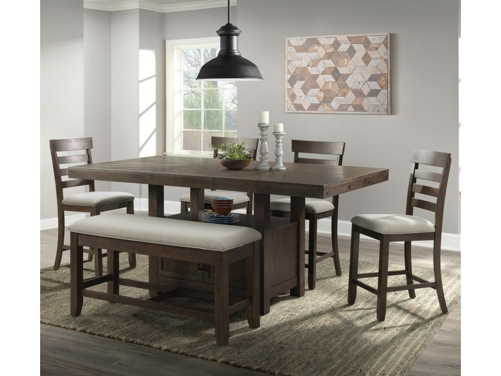 Elements International ColoradoTransitional Counter Height Dining Group wit