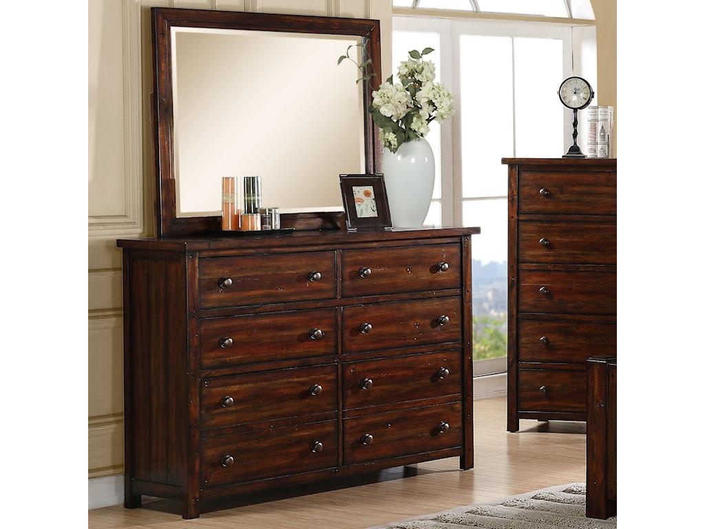 Elements International Dawson CreekDresser and Mirror Set