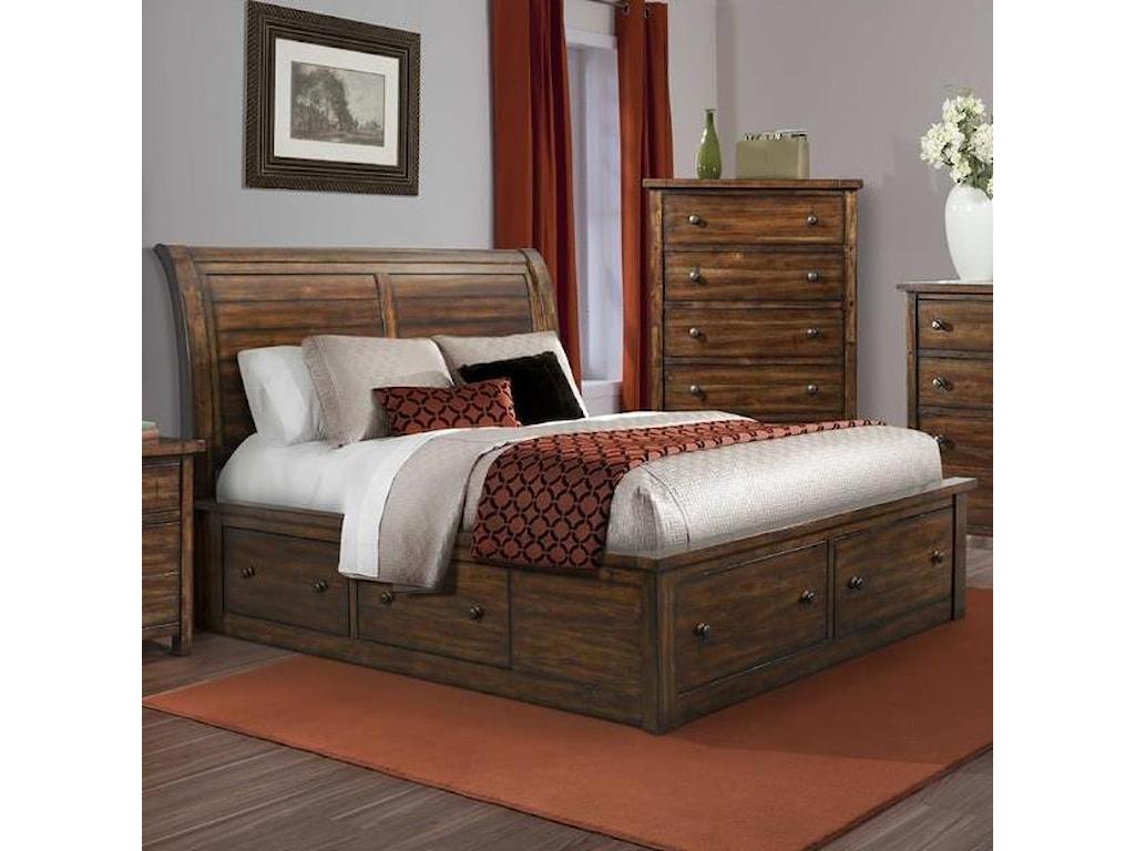 Elements International BoardwalkQueen Sleigh Storage Bed