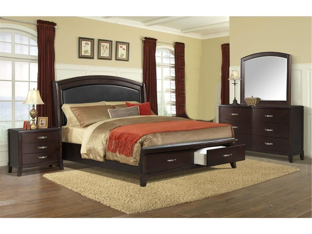 Elements International DELANEY Queen Storage Bed, Dresser, Mirror ...
