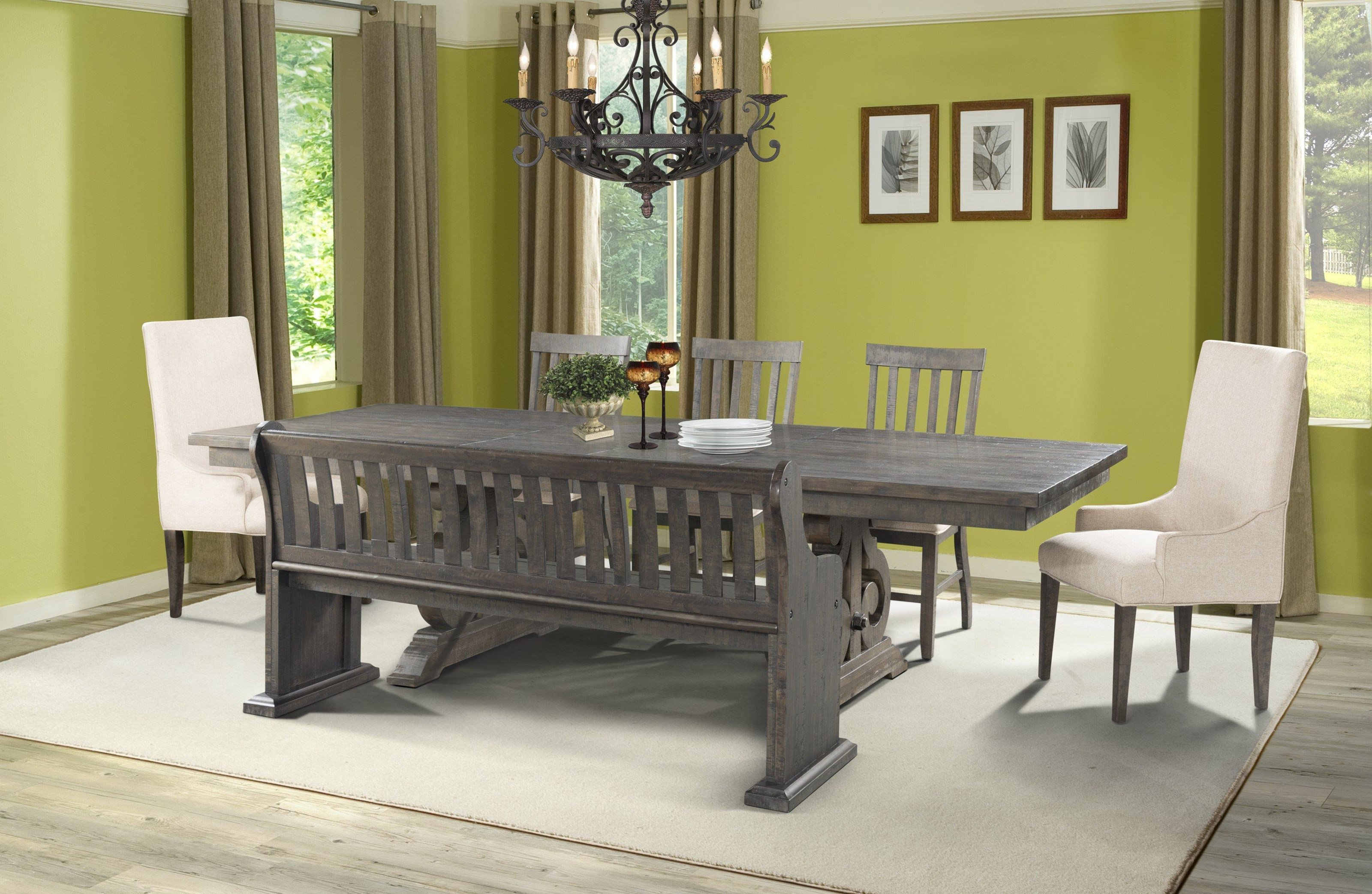 Elements International StoneDining Table, 3 Side Chairs, 2 Parsons Chair ...