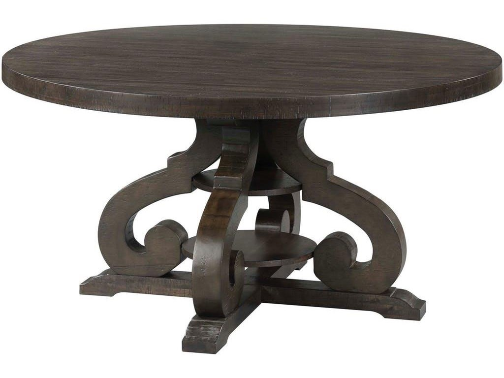 Elements International StoneRound Dining Table & 6 Side Chairs