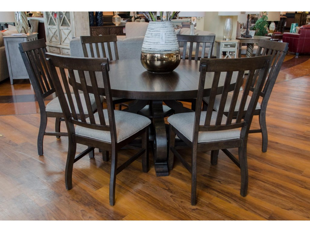 Stone Round Dining Table & 6 Side Chairs by Elements International at Great  American Home Store