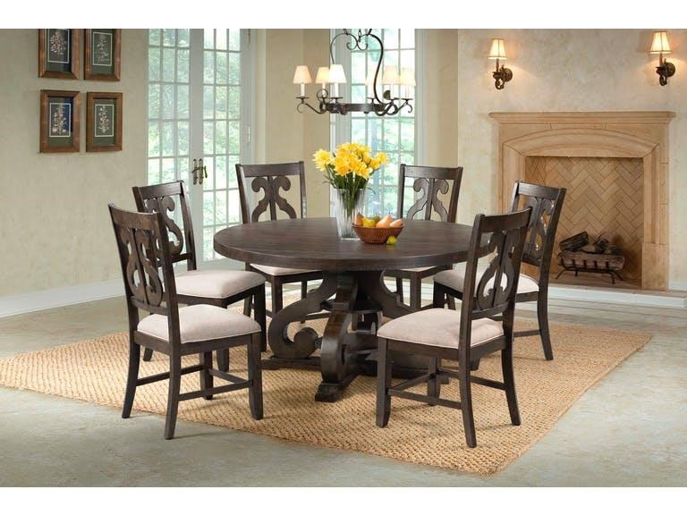 Elements International StoneRound Pedestal Table U0026 6 Chair Set ...