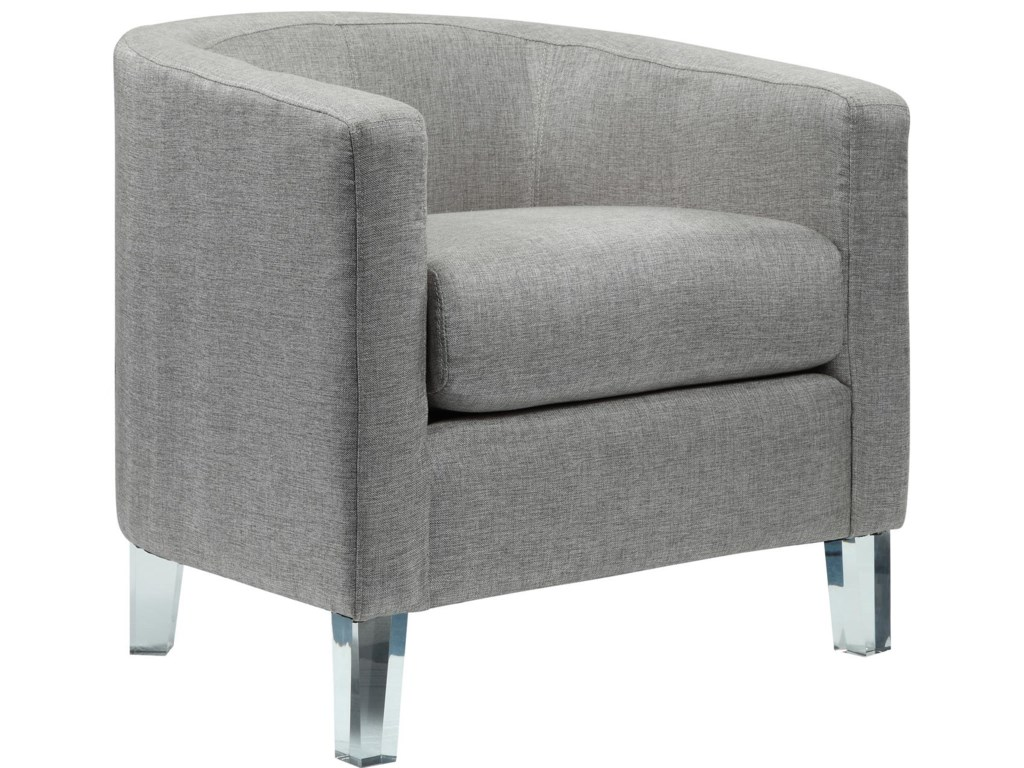 Elements international durian modern accent tub chair with acrylic legs