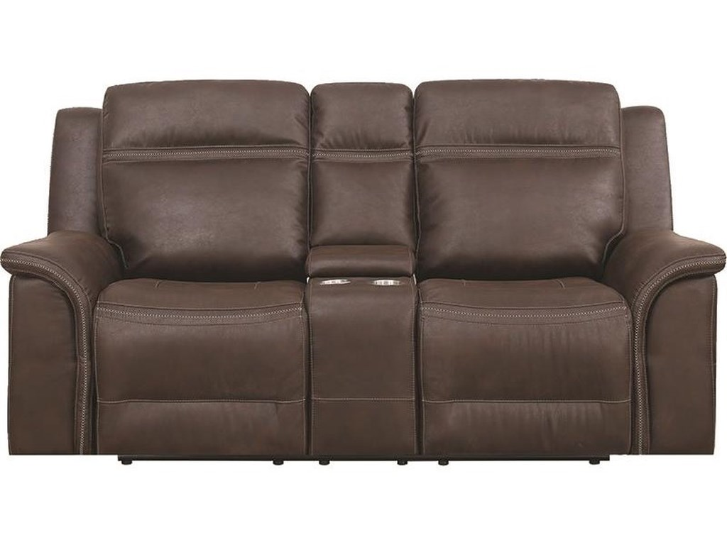 Elements International Emerson UpholsteryDual Reclining Power Console Loveseat With P