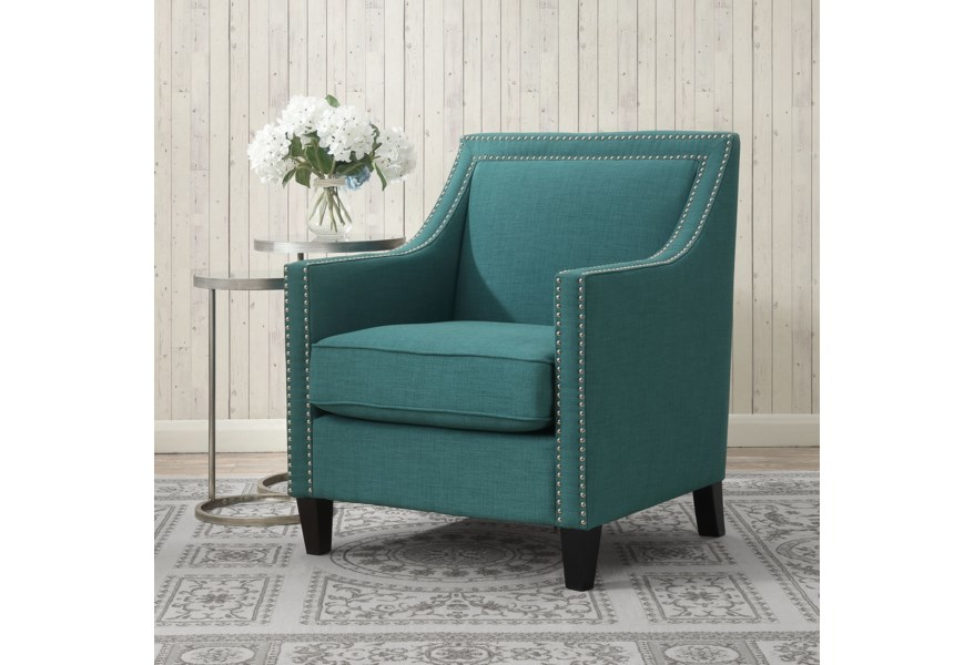 Elements International Erica Transitional Accent Chair With Chrome Nails Lindy S Furniture Company Upholstered Chairs