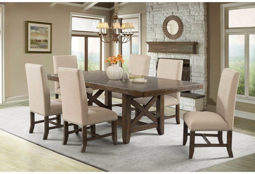 Elements International Franklin Rustic Seven Piece Dining Set Lindy S Furniture Company Dining 7 Or More Piece Sets