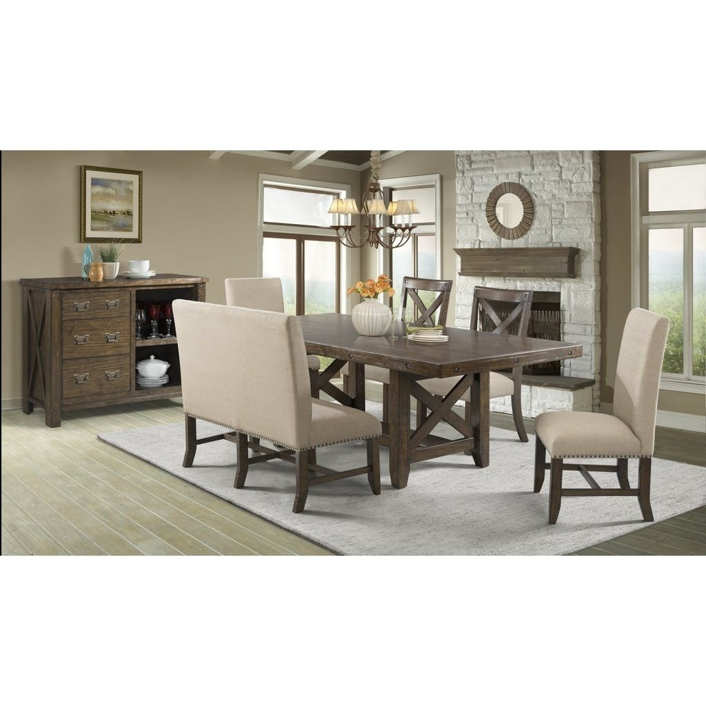 elements franklin rustic table set with upholstered dining bench johnny janosik table u0026 chair set with bench