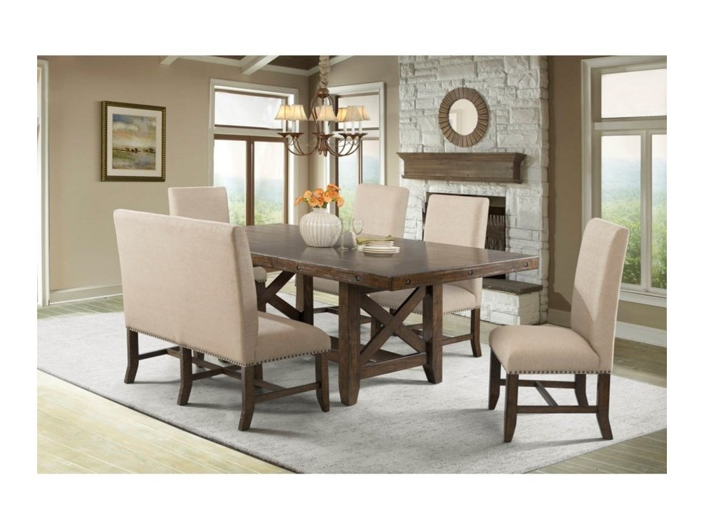 Elements Franklin Rustic Table Set With Upholstered Dining Bench Royal Furniture Table Chair Set With Bench