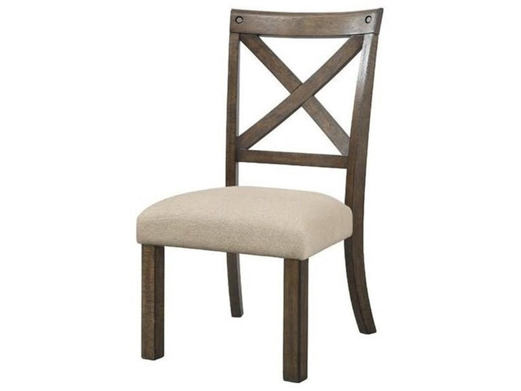 Elements International Franklin X Back Side Chair With Upholstered