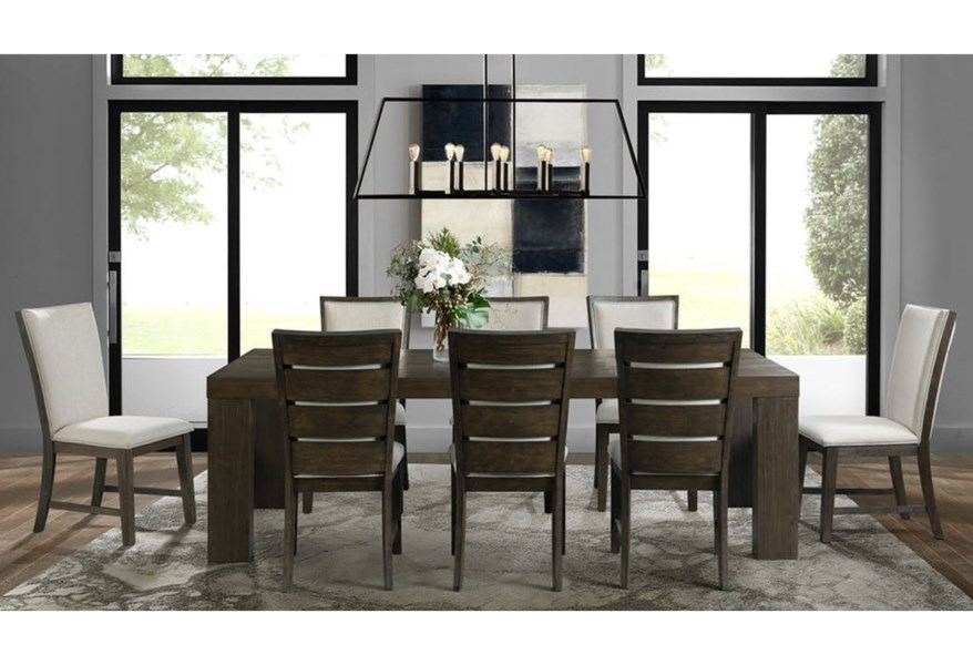 Elements International Grady Contemporary Dining Table Set With 8 Chairs Lindy S Furniture Company Dining 7 Or More Piece Sets