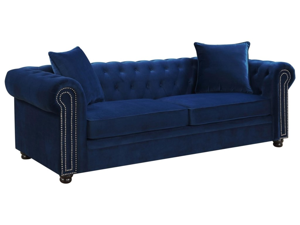 Greenwich Transitional Chesterfield Sofa with Nailhead Trim by Elements  International at Lindy\'s Furniture Company
