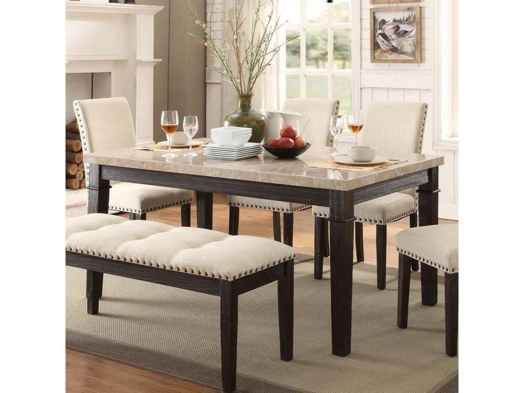 Elements International Greystone Dining Table With Faux Marble Top