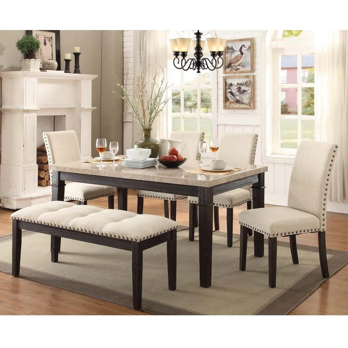 dining room table with upholstered bench. Elements International GreystoneTable And Chair Set With Bench Dining Room Table Upholstered T