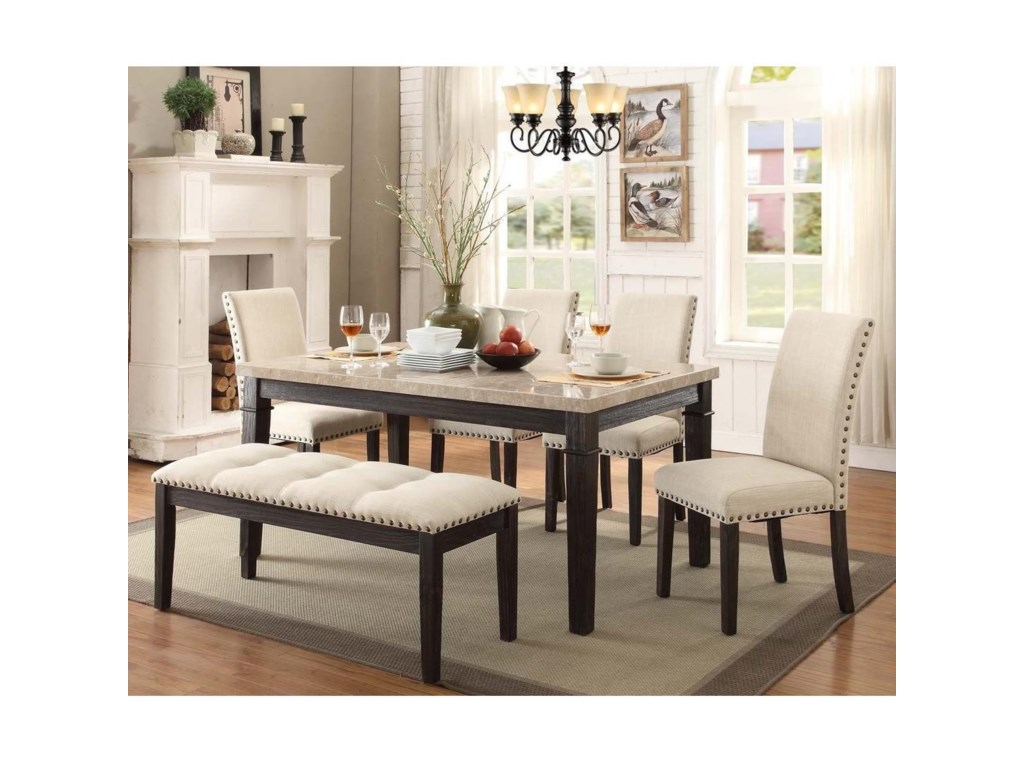 Elements International GreystoneTable And Chair Set With Bench