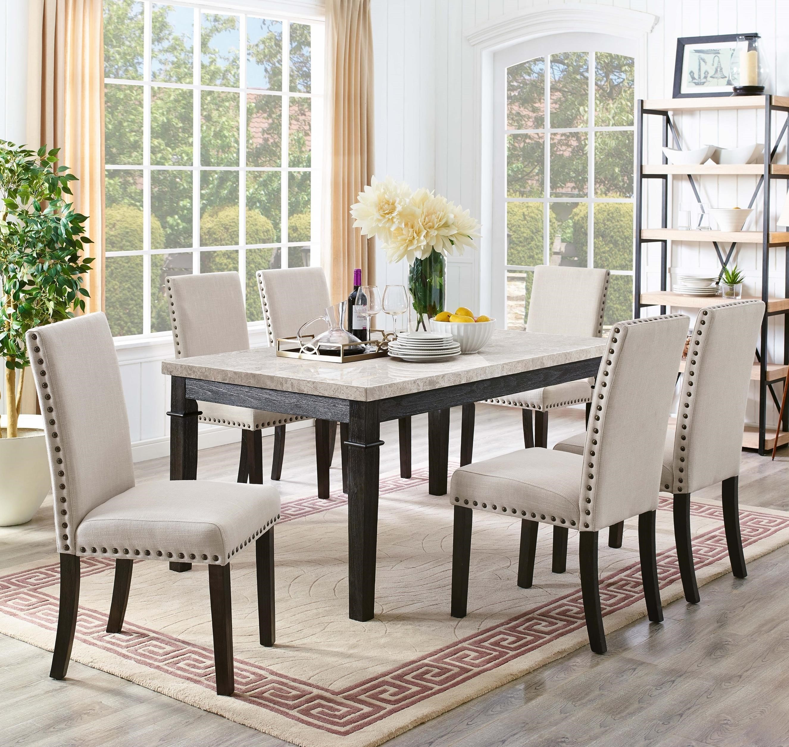 Picture of: Elements Greystone 7 Piece Dining Set With 6 Upholstered Side Chairs Royal Furniture Dining 7 Or More Piece Sets