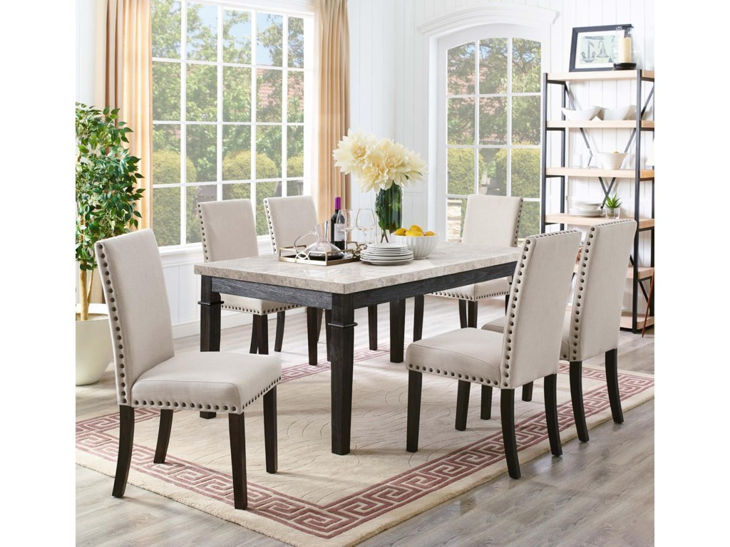 Elements Greystone 7 Piece Dining Set With 6 Upholstered Side Chairs Royal Furniture Dining 7 Or More Piece Sets
