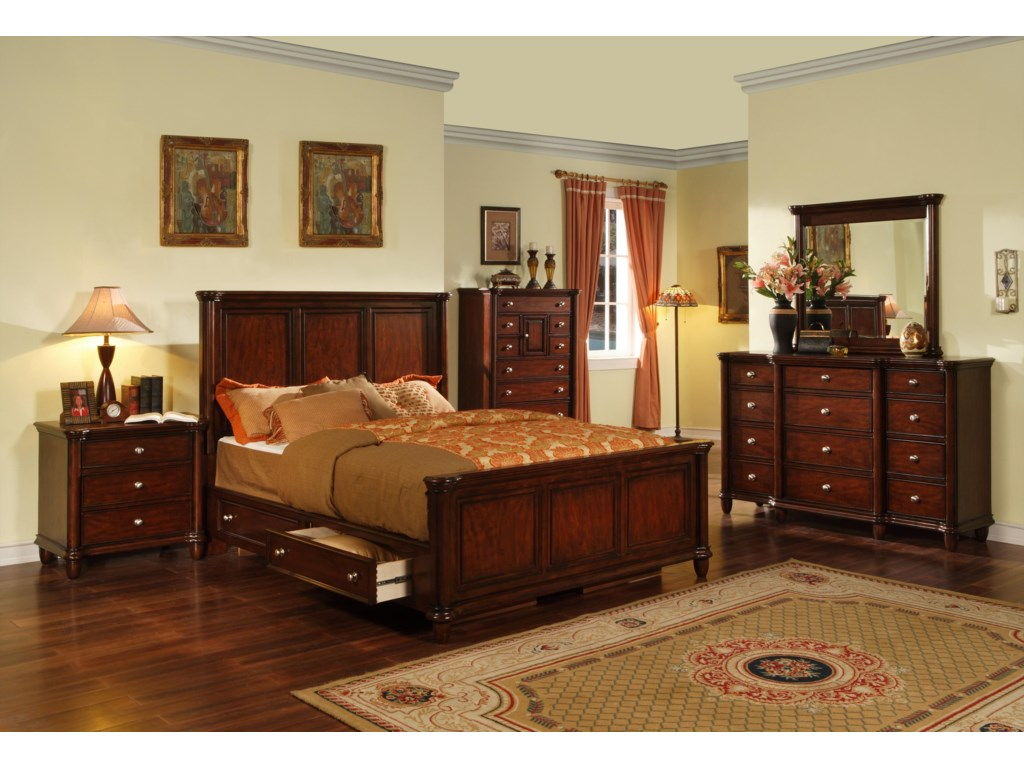 Elements International HamiltonCalifornia King Bed with Drawer Rails