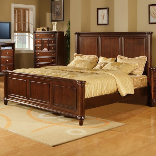 Elements International Hamilton King Transitional Rich Brown Panel Bed
