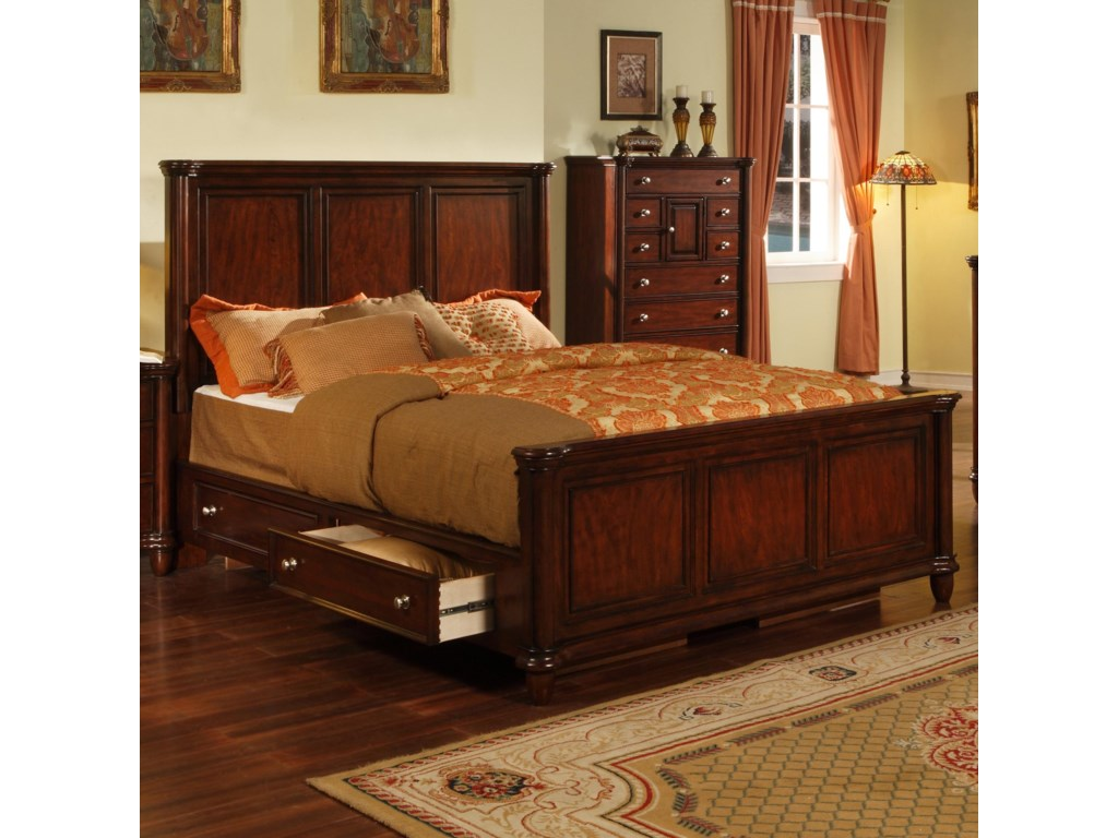 Elements International HamiltonQueen Bed with Drawer Rails