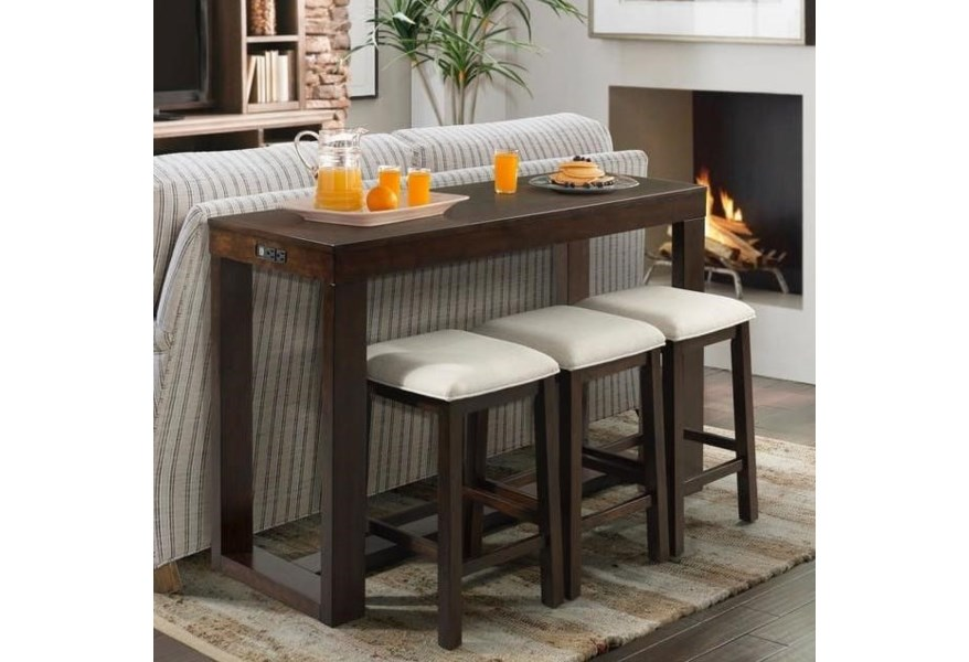 Elements International Hardy Counter Height Bar Table Set With Three Stools Bullard Furniture Pub Table And Stool Sets